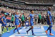 Players walk out onto the pitch before the Sky Bet League 2 play off final match between AFC Wimbledon and Plymouth Argyle at Wembley Stadium, London, England on 30 May 2016. Photo by Stuart Butcher.