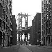 The Manhattan Bridge as seen from a Brooklyn street.