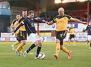 Livingston's Simon Mensing blocks Martin Boyle's shot - Dundee v Livingston,  SPFL Championship at Dens Park<br /> <br />  - &copy; David Young - www.davidyoungphoto.co.uk - email: davidyoungphoto@gmail.com