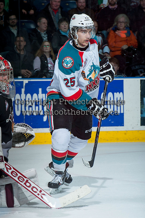KELOWNA, CANADA - JANUARY 4: Colton Heffley #25 of the Kelowna Rockets skates against the Vancouver Giants on January 4, 2014 at Prospera Place in Kelowna, British Columbia, Canada.   (Photo by Marissa Baecker/Shoot the Breeze)  ***  Local Caption  ***
