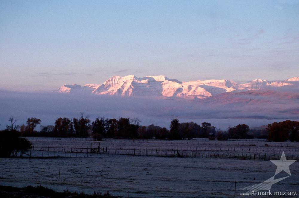 Sunrise on Mt. Timpanogos from frosty morning in Heber Valley, UT, Utah
