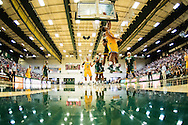 Vermont's Anthony Lamb (3) leaps for a lay up during the men's basketball game between the Lyndon State Hornets and the Vermont Catamounts at Patrick Gym on Saturday afternoon November 19, 2016 in Burlington (BRIAN JENKINS/for the FREE PRESS)