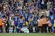 Leicester City's Jamie Vardy celebrates his goal during the Barclays Premier League match between Bournemouth and Leicester City at the Goldsands Stadium, Bournemouth, England on 29 August 2015. Photo by Mark Davies.