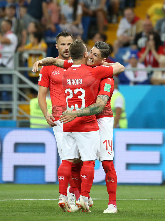 ROSTOV-ON-DON, June 17, 2018  Steven Zuber (R) of Switzerland celebrates his scoring during a group E match between Brazil and Switzerland at the 2018 FIFA World Cup in Rostov-on-Don, Russia, June 17, 2018. (Credit Image: © Li Ga/Xinhua via ZUMA Wire)