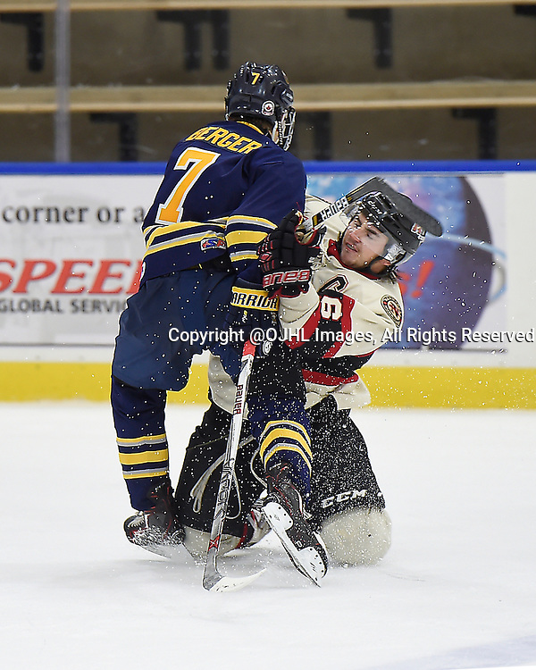 BUFFALO, ON - Sep 22, 2015 : Ontario Junior Hockey League game action between Newmarket and Buffalo at the Showcase, Christopher Berger #7 of the Buffalo Junior Sabres makes the hit on Curtis Harvey #6 of the Newmarket Hurricanes during the second period.<br /> (Photo by Andy Corneau / OJHL Images)