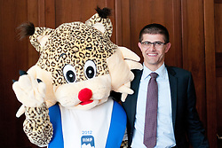 Official mascot Buli and Matjaz Rakovec, president of HZS, at press conference of Slovenian National team before Ice-Hockey World Championships Division I Ljubljana 2012 and introduction of official mascot for the tournament, on March 13, 2012 at Austria Trend Hotel, Ljubljana, Slovenia. (Photo By Matic Klansek Velej / Sportida)