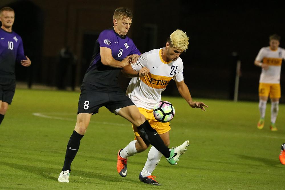October 6, 2017 - Johnson City, Tennessee - Summers-Taylor Stadium: ETSU midfielder Fletcher Ekern (24)<br /> <br /> Image Credit: Dakota Hamilton/ETSU