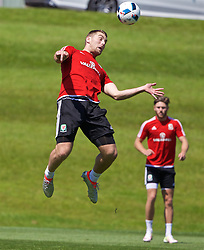 CARDIFF, WALES - Friday, June 3, 2016: Wales' Sam Vokes during a training session at the Vale Resort Hotel ahead of the International Friendly match against Sweden. (Pic by David Rawcliffe/Propaganda)