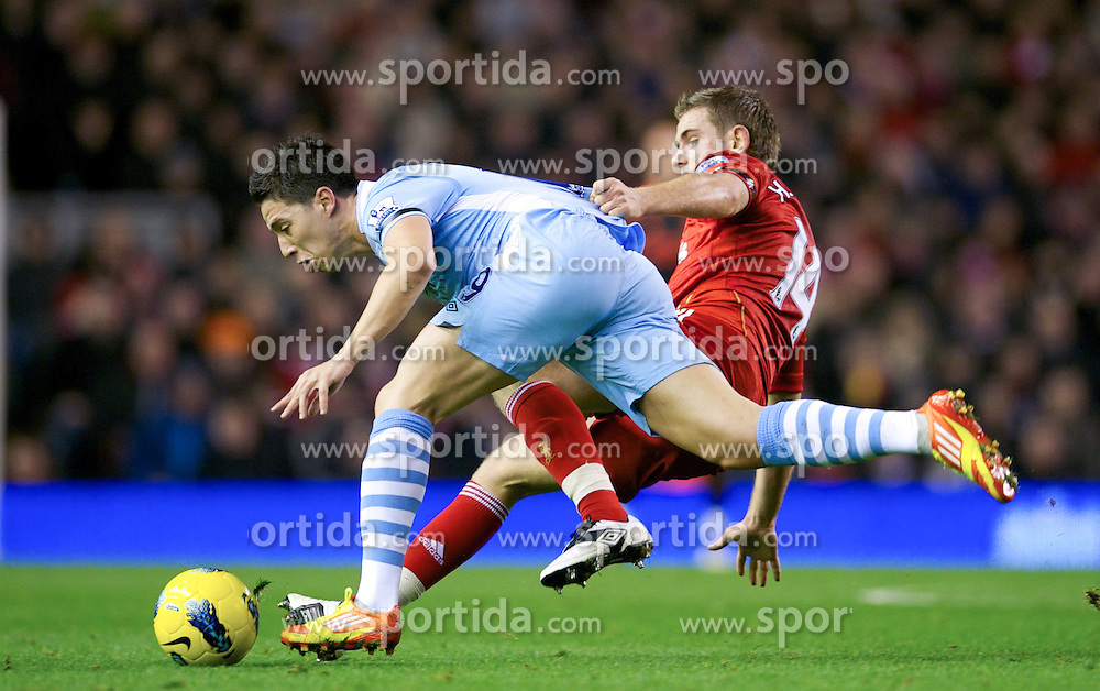 27.11.2011, Anfield Stadion, Liverpool, ENG, PL, FC Liverpool vs Manchester City, 13. Spieltag, im Bild Liverpool's Jordan Henderson in action against Manchester City's Samir Nasri during the football match of English premier league, 13th round, between FC Liverpool and Manchester City at Anfield Stadium, Liverpool, United Kingdom on 2011/11/27. EXPA Pictures © 2011, PhotoCredit: EXPA/ Sportida/ David Rawcliff..***** ATTENTION - OUT OF ENG, GBR, UK *****