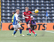 23rd September 2017, Rugby Park, Kilmarnock, Scotland; SPFL Premiership football, Kilmarnock versus Dundee; Dundee's Kevin Holt clears from Kilmarnock's Rory McKenzie