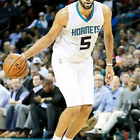 03 November 2015: Charlotte Hornets forward Nicolas Batum (5) dribbles during the Charlotte Hornets  130-105 victory over the Chicago Bulls, at the Time Warner Cable Arena, in Charlotte, North Carolina, USA.
