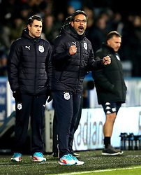 Huddersfield Town manager David Wagner celebrates Aaron Mooy of Huddersfield Town scoring a goal as Wigan Athletic manager Warren Joyce looks dejected - Mandatory by-line: Robbie Stephenson/JMP - 28/11/2016 - FOOTBALL - The John Smith's Stadium - Huddersfield, England - Huddersfield Town v Wigan Athletic - Sky Bet Championship