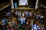 Students perform an exercise during a session at the School for Creative Start-ups, at Conway Hall on September 12, 2012, in London, England. (Photo by Warrick Page)