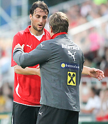 11.08.2010, Waldstadion Pasching, Pasching, AUT, UEFA U21 EM Qualifikation, Oesterreich vs Weissrussland, im Bild Atdhe Nuhiu,(Austria, Sturm, #09) und Dietmar Constantini,(Austria, Headcoach), EXPA Pictures © 2010, PhotoCredit: EXPA/ R. Hackl / SPORTIDA PHOTO AGENCY