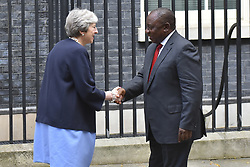 April 17, 2018 - London, England, United Kingdom - Britain's Prime Minister Theresa May (L) greets South Africa's President Cyril Ramaphosa at 10 Downing Street in central London, prior to bilateral talks on the sidelines of the Commonwealth Heads of Government meeting (CHOGM) on April 17, 2017. (Credit Image: © Alberto Pezzali/NurPhoto via ZUMA Press)