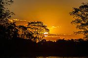 Sunset, reflection, Rio Piquiri, Brazil; Mato Grosso; Pantanal; Rio Piquiri