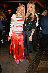 Left to right, PHOEBE-LETTICE THOMPSON and LAURA WHITMORE at a party to celebrate the opening of 100 Wardour Street, Soho, London on 28th January 2016.