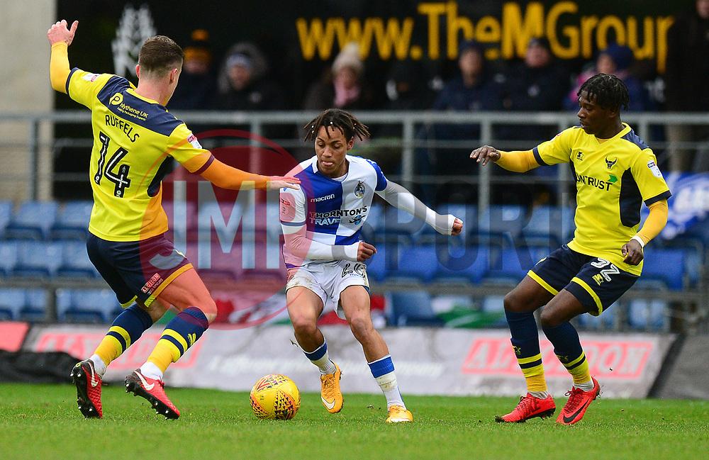 Kyle Bennett of Bristol Rovers looks to take on Josh Ruffels of Oxford United - Mandatory by-line: Alex James/JMP - 10/02/2018 - FOOTBALL - Kassam Stadium - Oxford, England - Oxford United v Bristol Rovers - Sky Bet League One