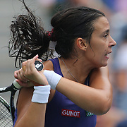 Marion Bartoli, France, in action against Maria Sharapova, Russia, during the US Open Tennis Tournament, Flushing, New York. USA. 5th September 2012. Photo Tim Clayton