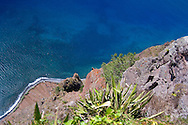 A view of the sea and fields below from the cliffs at Cabo Girao Northwest of<br /> Funchal.  Madeira, Portugal