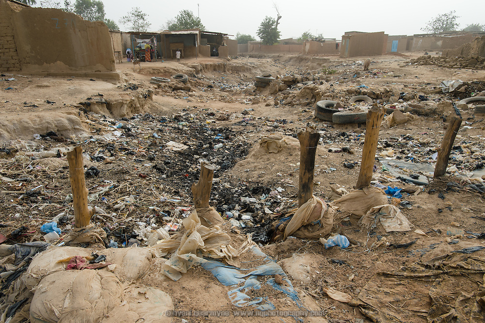 A heavily-polluted gully in Zongo, an informal settlement in Burkina Faso's capital, Ouagadougou, on 24 February 2016.