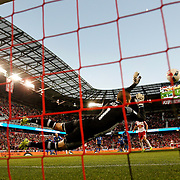 HARRISON, NEW JERSEY- November 06:  Evan Bush #1 of Montreal Impact saves a penalty kick from Sacha Kljestan #16 of New York Red Bulls during the New York Red Bulls Vs Montreal Impact MLS playoff match at Red Bull Arena, Harrison, New Jersey on November 06, 2016 in Harrison, New Jersey. (Photo by Tim Clayton/Corbis via Getty Images)