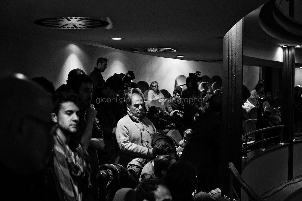 Roma, Italia - 17 gennaio 2013:  Pierluigi Bersani ha incontrato i giovani, aprendo ufficialmente la campagna elettorale dei democratici a Roma, al Teatro Ambra Jovinelli, il 17 gennaio 2013. &quot;Le nostre forze sono in grado stavolta di battere la destra e per questo vinceremo&quot;, ha detto il segretario del Pd.ROME, ITALY - 17 JANUARY 2013: Pierluigi Bersani meets his young voters, thus officially starting the campaign of the Democratics, at the Jovinelli Theatre in Rome on January 17, 2013. &quot;Our strength can defeat the center-right. This is why we will win&quot;, Pierluigi Bersani said.<br /> <br /> A general election to determine the 630 members of the Chamber of Deputies and the 315 elective members of the Senate, the two houses of the Italian parliament, will take place on 24&ndash;25 February 2013. The main candidates running for Prime Minister are Pierluigi Bersani (leader of the centre-left coalition &quot;Italy. Common Good&quot;), former PM Mario Monti (leader of the centrist coalition &quot;With Monti for Italy&quot;) and former PM Silvio Berlusconi (leader of the centre-right coalition).<br /> <br /> ###<br /> <br /> ROMA, ITALIA - 17 GENNAIO 2013: Pierluigi Bersani incontra i giovani,  aprendo ufficialmente la campagna elettorale dei democratici, al Teatro Ambra Jovinelli di Roma il 17 gennaio 2013. &quot;Le nostre forze sono in grado stavolta di battere la destra e per questo vinceremo&quot;, ha detto il segretario del Pd.<br /> <br /> Le elezioni politiche italiane del 2013 per il rinnovo dei due rami del Parlamento italiano &ndash; la Camera dei deputati e il Senato della Repubblica &ndash; si terranno domenica 24 e luned&igrave; 25 febbraio 2013 a seguito dello scioglimento anticipato delle Camere avvenuto il 22 dicembre 2012, quattro mesi prima della conclusione naturale della XVI Legislatura. I principali candidate per la Presidenza del Consiglio sono Pierluigi Bersani (leader della coalizione di centro-sinistra &quot;Italia. Bene Comune