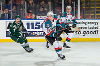KELOWNA, CANADA - JANUARY 9:  Michael Farren #16 of the Kelowna Rockets skates against the Everett Silvertips on January 9, 2019 at Prospera Place in Kelowna, British Columbia, Canada.  (Photo by Marissa Baecker/Shoot the Breeze)