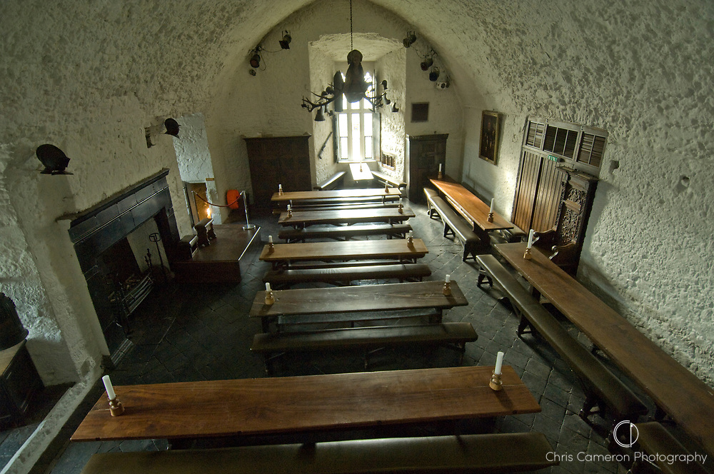 Dinning hall at Bunratty Castle, County Clare, Ireland.