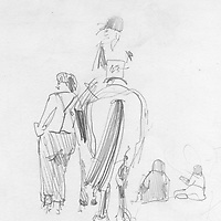 Sketchbook drawing of horse and rider at Findon Pony Club 1982
