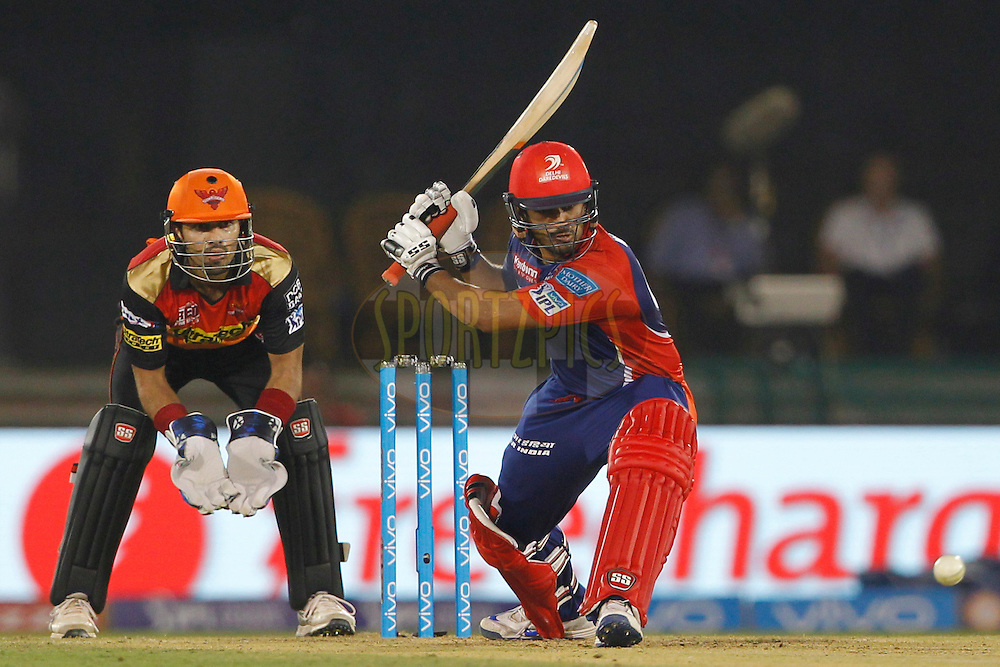 Karun Nair of Delhi Daredevils bats during match 52 of the Vivo Indian Premier League ( IPL ) between the Delhi Daredevils and the the Sunrisers Hyderabad held at the Shaheed Veer Narayan Singh International Cricket Stadium, Naya Raipur, India on the 20th May 2016<br /> <br /> Photo by Deepak Malik / IPL/ SPORTZPICS