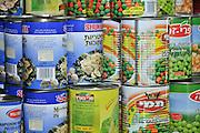 Israel, Haifa, Grocery Shop various tin cans