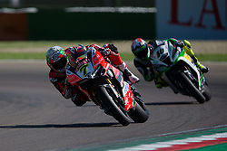 May 13, 2018 - Imola, BO, Italy - Chaz Davies of Aruba.it Racing - Ducati overtake Roman Ramos of Team Kawasaki Go Eleven during the race 2 of the Motul FIM Superbike Championship, Italian Round, at International Circuit ''Enzo and Dino Ferrari'', on May 13, 2018 in Imola, Italy  (Credit Image: © Danilo Di Giovanni/NurPhoto via ZUMA Press)
