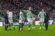 Kristoffer Ajer of Celtic FC shows where he want the ball during the Europa League match between Celtic and FC Copenhagen at Celtic Park, Glasgow, Scotland on 27 February 2020.