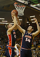December 29 2010: Illinois Fighting Illini forward Tyler Griffey (42) and center Mike Tisdale (54) battle for a rebound during the first half of an NCAA college basketball game at Carver-Hawkeye Arena in Iowa City, Iowa on December 29, 2010. Illinois defeated Iowa 87-77.