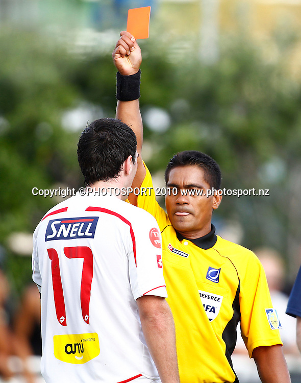 Waitakere United captain Jake Butler is red carded by referee Norbert Hauata. O-League Football, Auckland City FC v Waitakere United, Kiwitea Street Auckland, Sunday 28th March 2010. Photo: Simon Watts/PHOTOSPORT