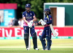 Natalie Sciver of England Women and Tammy Beaumont of England Women during their partnership together - Mandatory by-line: Robbie Stephenson/JMP - 12/07/2017 - CRICKET - The County Ground Derby - Derby, United Kingdom - England v New Zealand - ICC Women's World Cup match 21