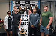 Athletes pose during a press conference prior to the 45th Prefontaine Classic, Saturday, June 29, 2019, in San Mateo, Calif. Front row (from left): Elaine Thompson, Sam Kendricks,  Michael Norman and Ryan Crouser. Back row: Laura Muir, Sha'Carri Richardson, Shelly-Ann Fraser-Pryce, Genzebe Dibaba and Christian Coleman.