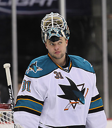 Oct 21; Newark, NJ, USA; San Jose Sharks goalie Antti Niemi (31) during the second period at the Prudential Center.