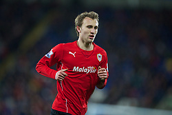 CARDIFF, WALES - Tuesday, February 11, 2014: Cardiff City's Magnus Wolff Eikrem in action against Aston Villa during the Premiership match at the Cardiff City Stadium. (Pic by David Rawcliffe/Propaganda)