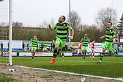 Forest Green Rovers Liam Noble(15) takes a penalty and scores a goal 2-0 and celebrates during the Vanarama National League match between Forest Green Rovers and Wrexham FC at the New Lawn, Forest Green, United Kingdom on 18 March 2017. Photo by Shane Healey.