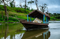 LORETO, PERU - CIRCA OCTOBER 2015: Typical local boat at the Yarapa River in the Peruvian Amazon.