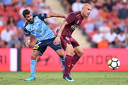 January 8, 2018 - Brisbane, QUEENSLAND, AUSTRALIA - Massimo Maccarone of the Roar (9, right) controls the ball in front of Michael Zullo of Sydney (7) during the round fifteen Hyundai A-League match between the Brisbane Roar and Sydney FC at Suncorp Stadium on Monday, January 8, 2018 in Brisbane, Australia. (Credit Image: © Albert Perez via ZUMA Wire)