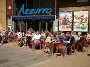 People sitting outside on the street, Azzurro Italian restaurant bar, Waterloo, London