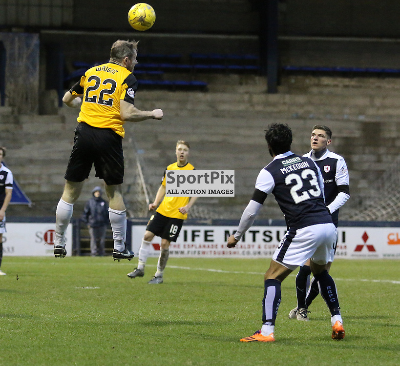 Frazer wright clears with header during the Raith Rovers v Dumbarton  Scottish Championship 23 January 2016<br /> <br /> (c) Andy Scott | SportPix.org.uk