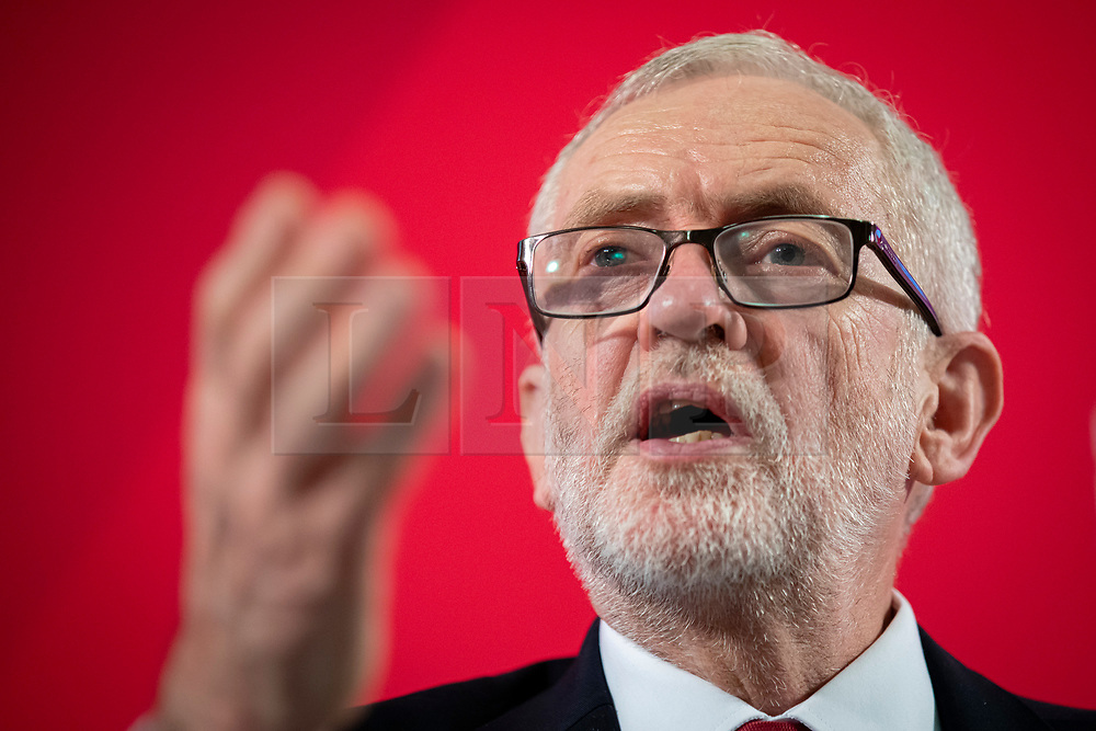 © Licensed to London News Pictures. 27/11/2019. London, UK. Labour Party Leader Jeremy Corbyn speaks at an event in Westminster about the NHS. The Party has obtained a copy of an unredacted report on trade negotiations with the USA which allegedly includes the NHS. Photo credit: Rob Pinney/LNP