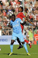 FOOTBALL - FRENCH CHAMPIONSHIP 2010/2011 - L1 - VALENCIENNES FC v OLYMPIQUE DE MARSEILLE - 14/08/2010 - PHOTO JEAN MARIE HERVIO / DPPI - MAMADOU NIANG (OM) / GAETAN BONG (VA)