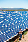 Manager standing by the rows of solar panels for the Solar Park