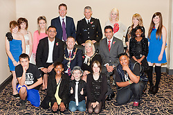 Talentastic 2011 Grand Finalists, Megan Reddish, Vuyelwa Mukuze, Niamh West, James Ansell, Summer Hatton, Peter Gujdan, Leah Mayo, Rose Nunghari, Connor Dugan, Zoe Leaver, Chloe Bailey, Michelle Jeffery, Shaune Mbayiwa  and Judges Mayor of Rotherham Cllr Shaun Wright JP,  Mayoress of Rotherham Mrs Lisa Wright, Cllr Akhtar, Cllr Hussain, Chief superintendant Richard Tweed and Matt Gladstone  at Rotherham Town Hall on Friday evening.114510-1.11 November 2011. Image © Paul David Drabble