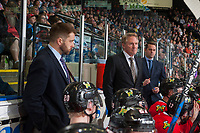 KELOWNA, CANADA - APRIL 14: Portland Winterhawks' coaching staff Oliver David, Mike Johnston and Kyle Gustafson stand on the bench against the Kelowna Rocketson April 14, 2017 at Prospera Place in Kelowna, British Columbia, Canada.  (Photo by Marissa Baecker/Shoot the Breeze)  *** Local Caption ***